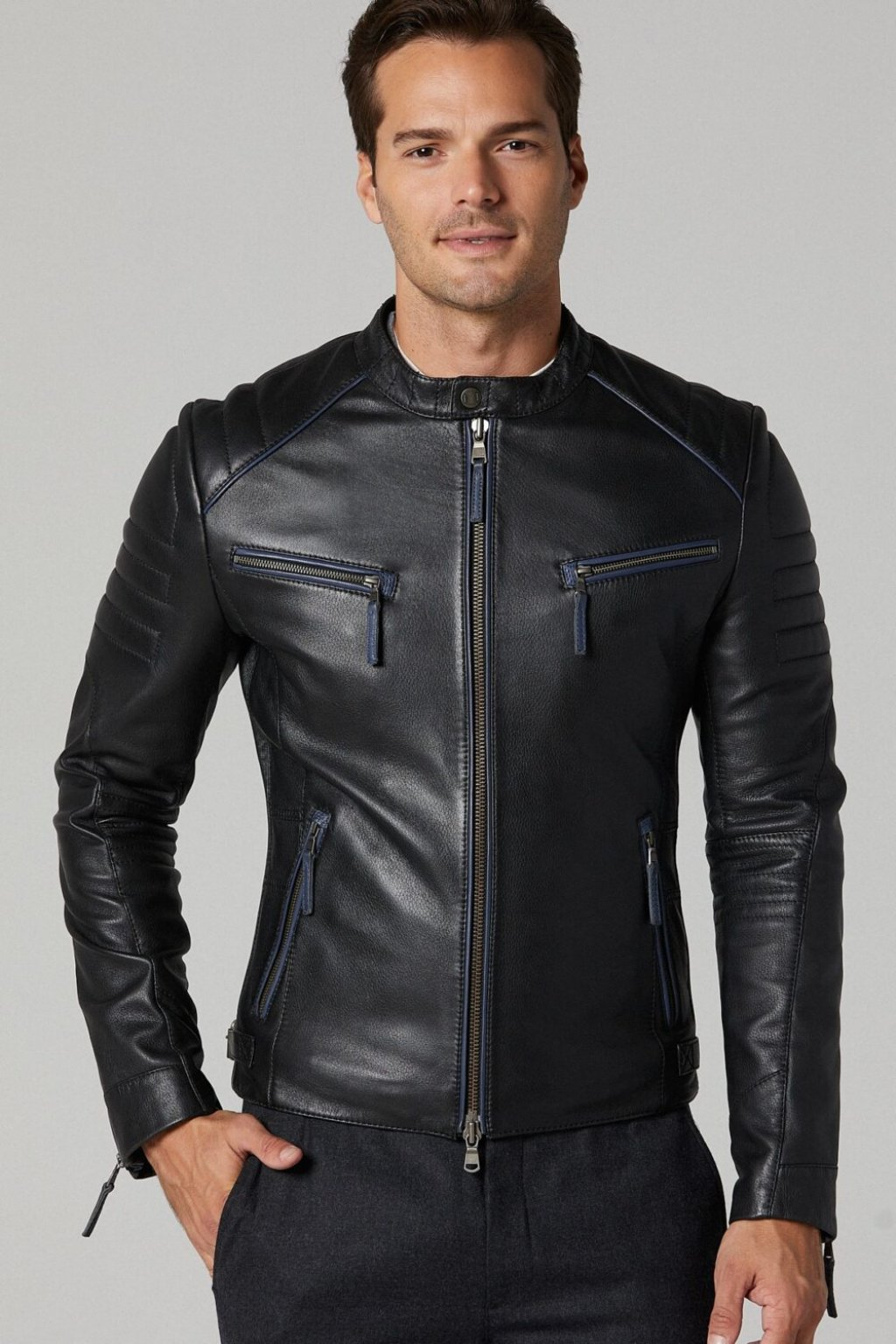 Dazzling Black MENS Sport Leather Jacket