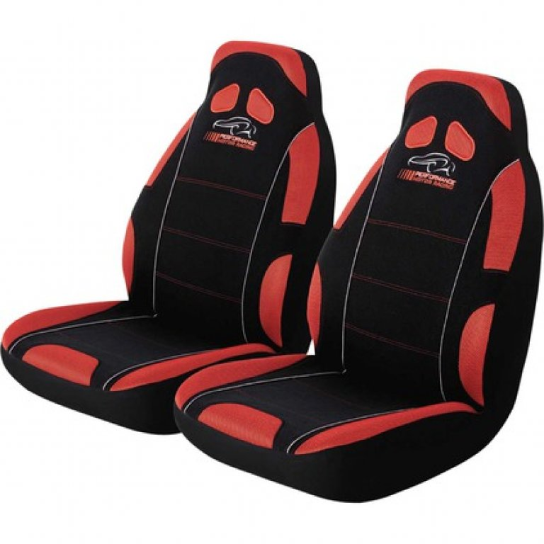 Performance Racing SEAT Covers - Red, Built-in Headrests, Airbag Compa
