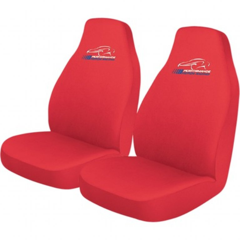 Performance Racing SLIP On SEAT Covers - Red, Built-in Headrests