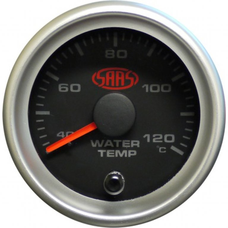 SAAS Water Temperature Gauge - Black, 52MM