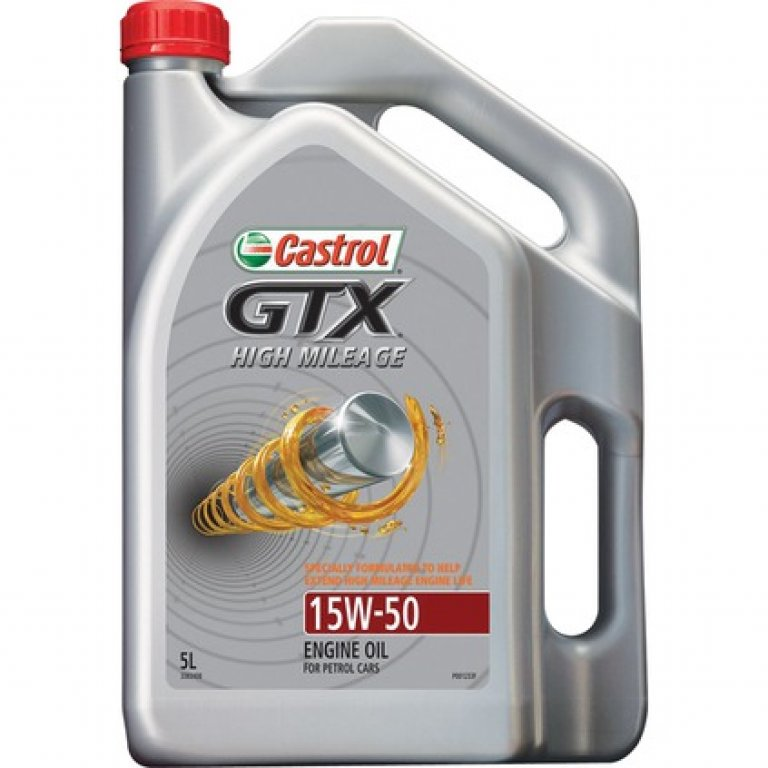 Castrol GTX High Mileage Engine Oil - 15W-50,, 5 Litre