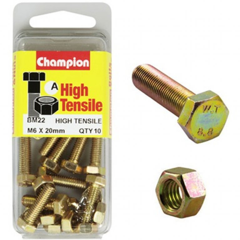 Champion High Tensile Bolts and Nuts - M6 X 60