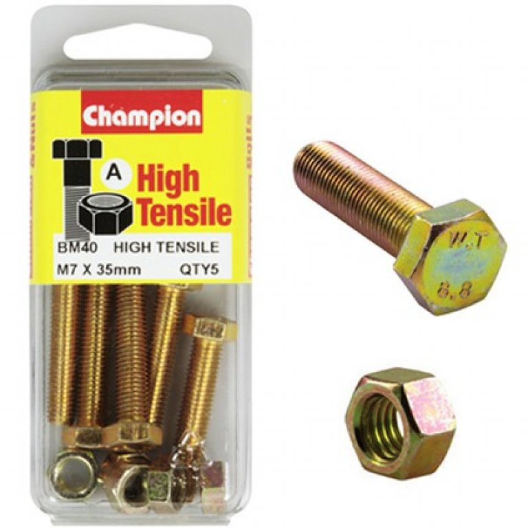 Champion High Tensile Bolts and Nuts - M7 X 35