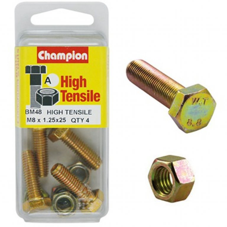 Champion High Tensile Bolts and Nuts - M8 X 25