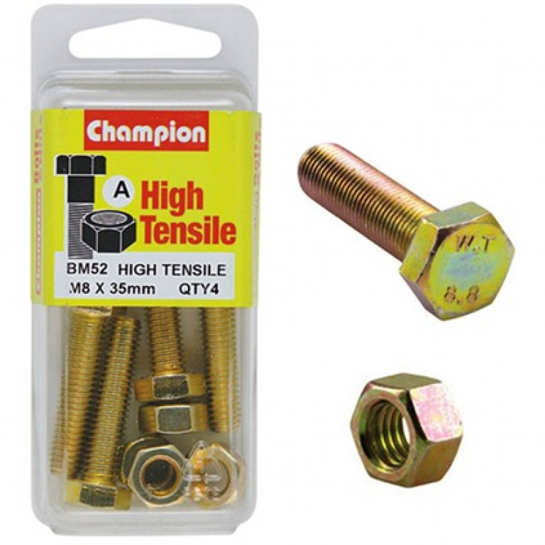 Champion High Tensile Bolts and Nuts - M8 X 35