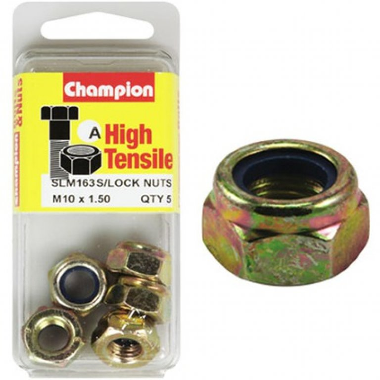 Champion Nyloc Nuts - M8x1.50, High Tensile