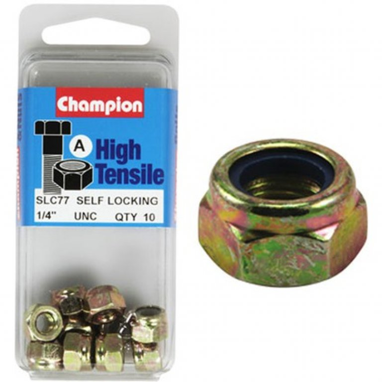 Champion Nyloc Nuts - UNC 1/4, High Tensile