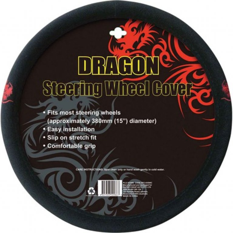 Dragon Steering Wheel Cover - Brushed Polyester, Red, 380MM Diameter