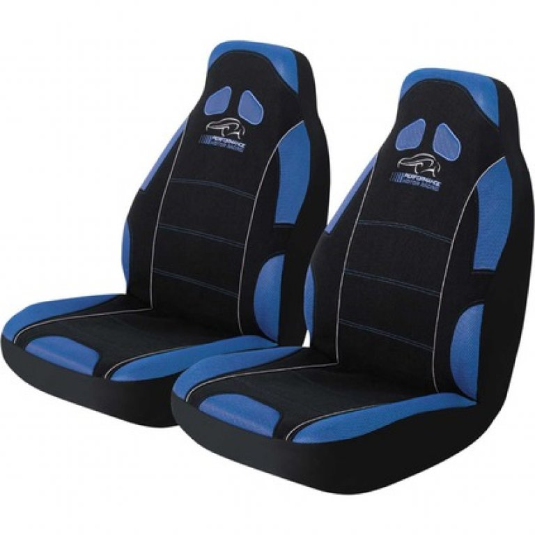 Performance Racing SEAT Covers - Blue, Built-in Headrests, Airbag Comp