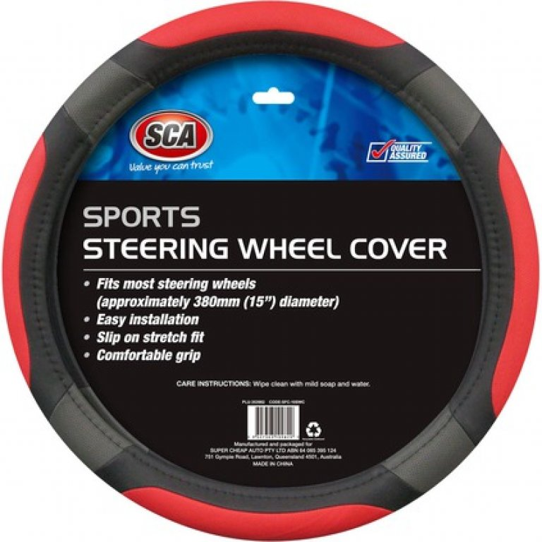 SCA Steering Wheel Cover - Sports, Red, 380MM Diameter