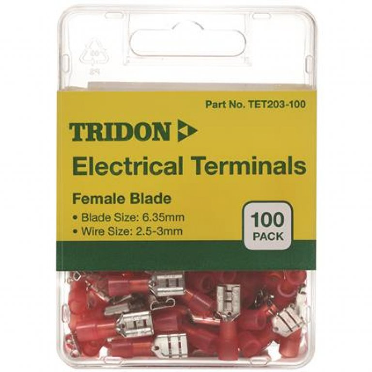 Tridon Electrical Terminals - Female Blade, Red, 6.35mm, 100 PACK