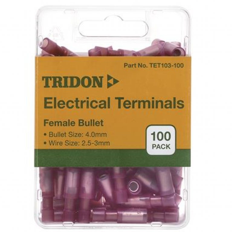 Tridon Electrical Terminals - Female Bullet, Red, 4MM, 100 PACK