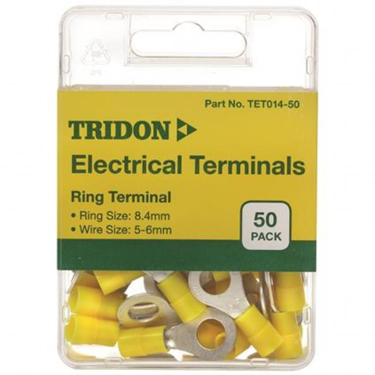 Tridon Electrical Terminals - Ring (EYE)), Yellow, 8.4mm, 50 PACK