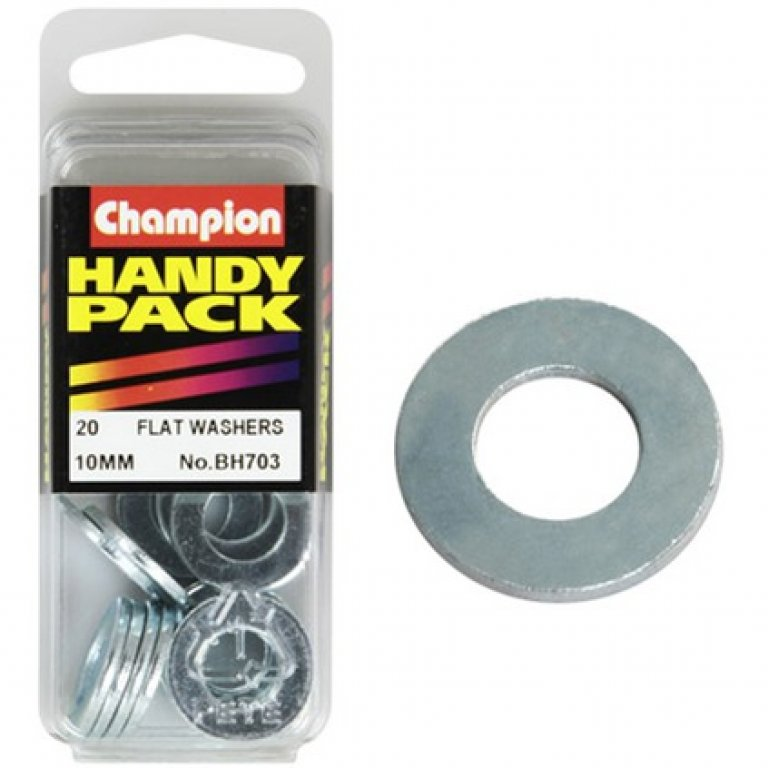 Champion FLAT Steel Washer - 10MM, BH703, Handy PACK
