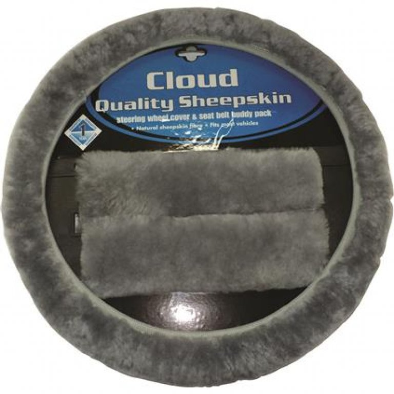 Cloud Steering Wheel Cover and SEAT BELT Buddies - Sheepskin, Grey, 38