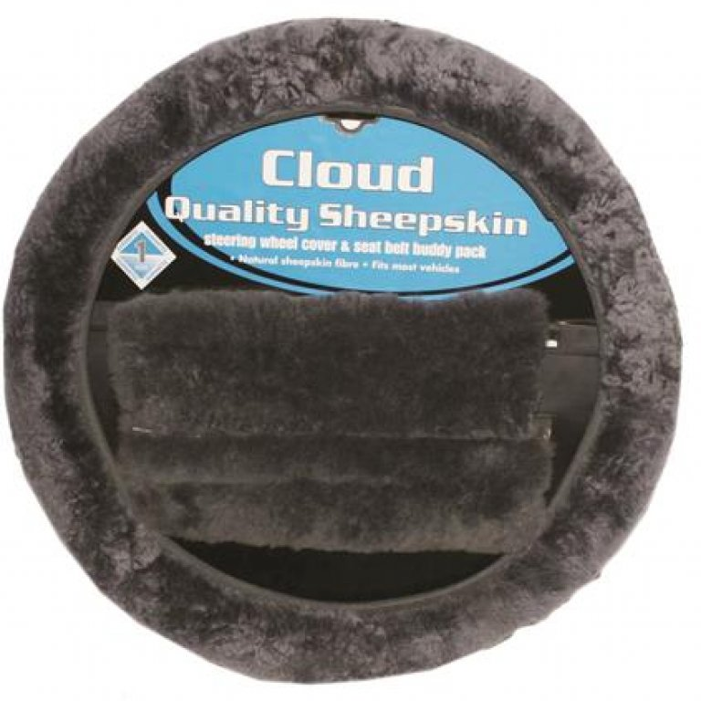 Cloud Steering Wheel Cover and SEAT BELT Buddies - Sheepskin, Slate, 3