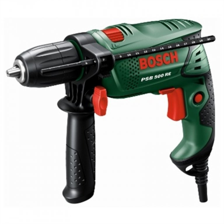 Bosch Green Compact 500W Impact Drill With AUX Handle & Carry CASE - P