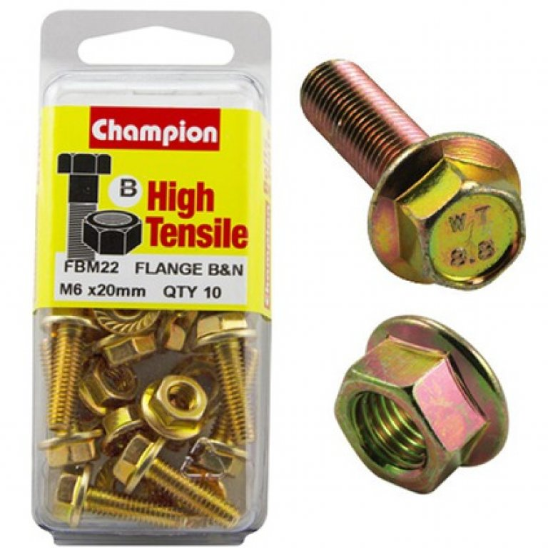Champion Flange Bolts - M6x20, High Tensile