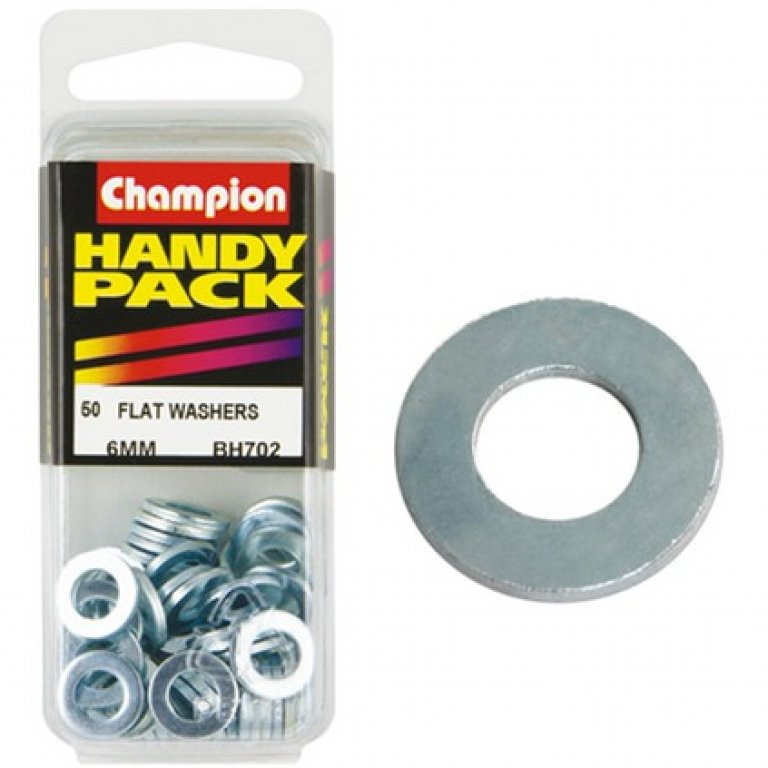 Champion FLAT Steel Washer - 6MM, BH702, Handy PACK