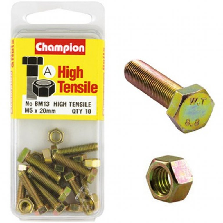 Champion High Tensile Bolts and Nuts - M5 X 20