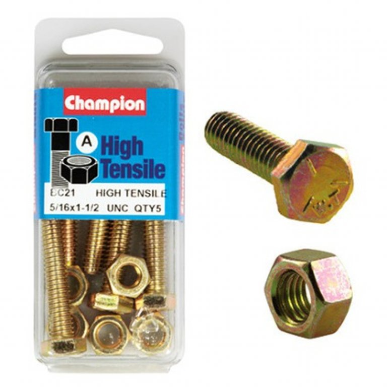Champion High Tensile Bolts and Nuts - UNC 1-1 / 2inch X 5 / 16INCH