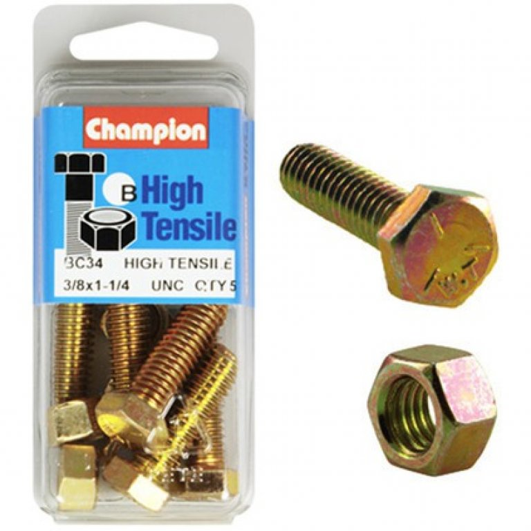 Champion High Tensile Bolts and Nuts - UNC 1-1 / 4inch X 3 / 8inch