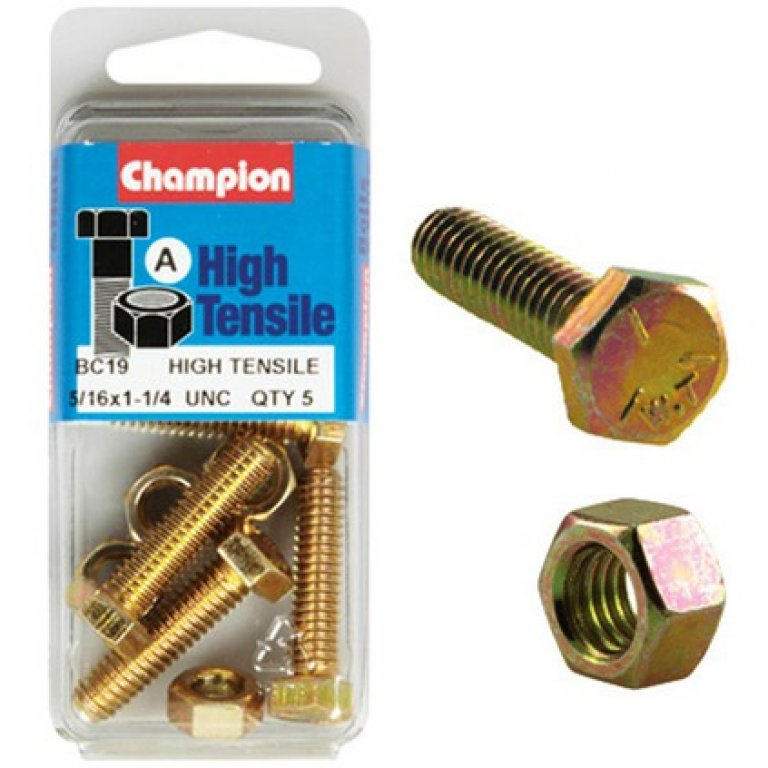 Champion High Tensile Bolts and Nuts - UNC 1-1 / 4inch X 5 / 16INCH