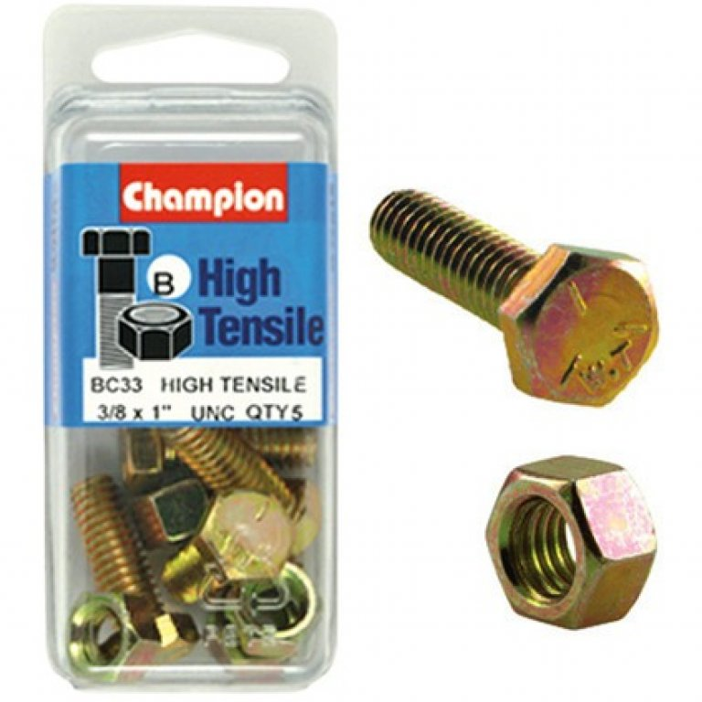 Champion High Tensile Bolts and Nuts - UNC 1inch X 3 / 8inch