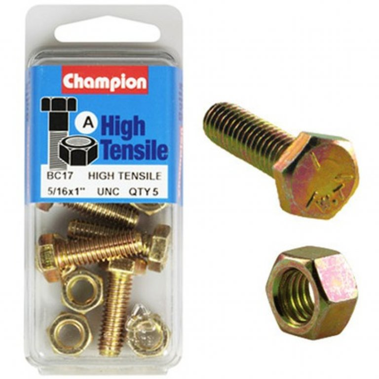 Champion High Tensile Bolts and Nuts - UNC 1inch X 5 / 16INCH