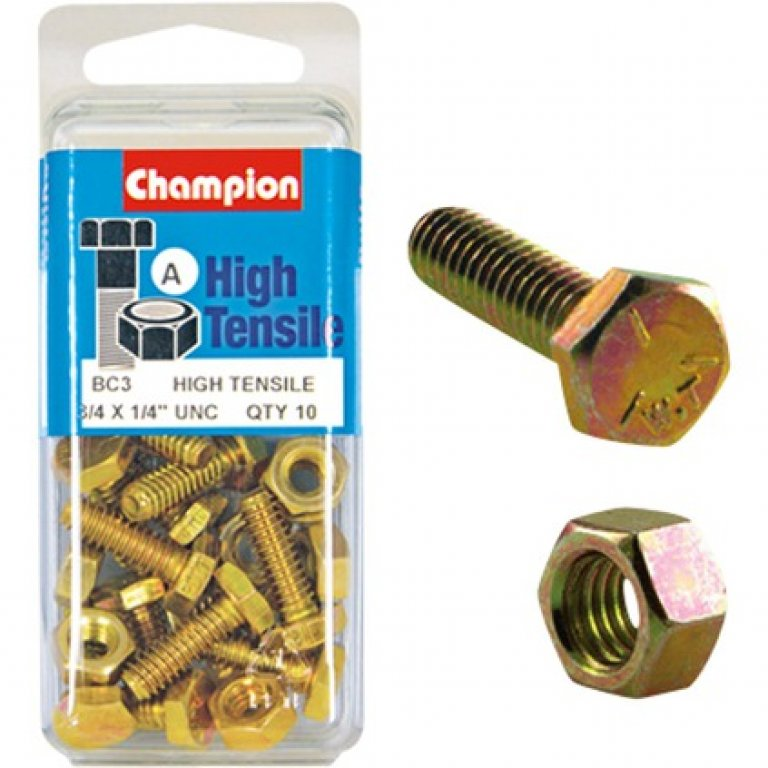 Champion High Tensile Bolts and Nuts - UNC 3 / 4inch X 1 / 4inch