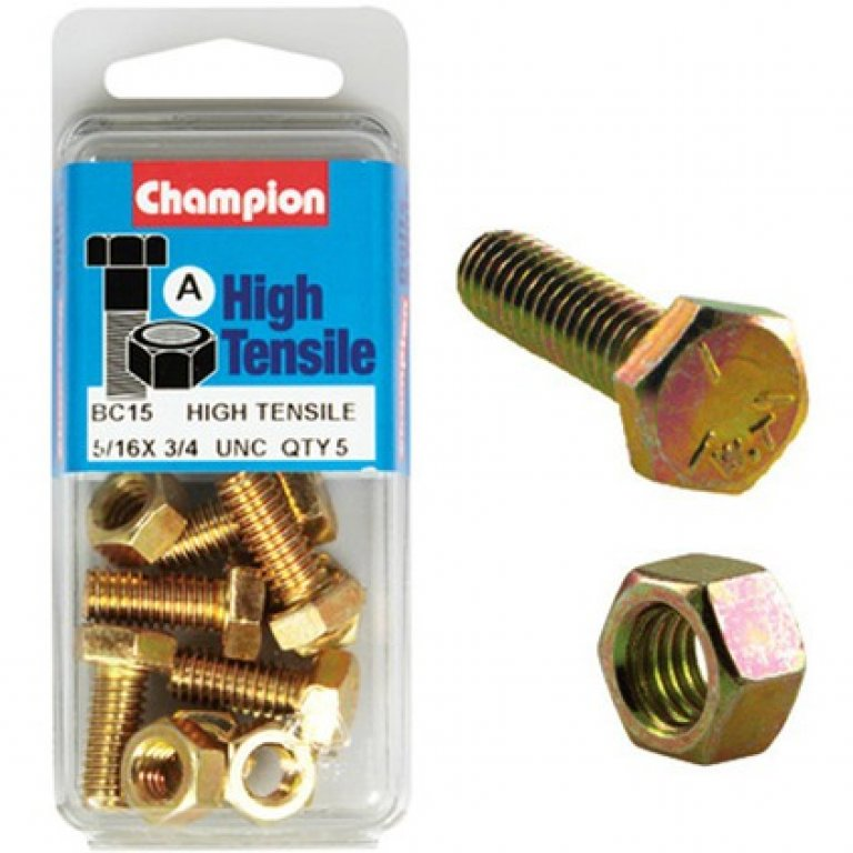 Champion High Tensile Bolts and Nuts - UNC 3 / 4inch X 5 / 16INCH