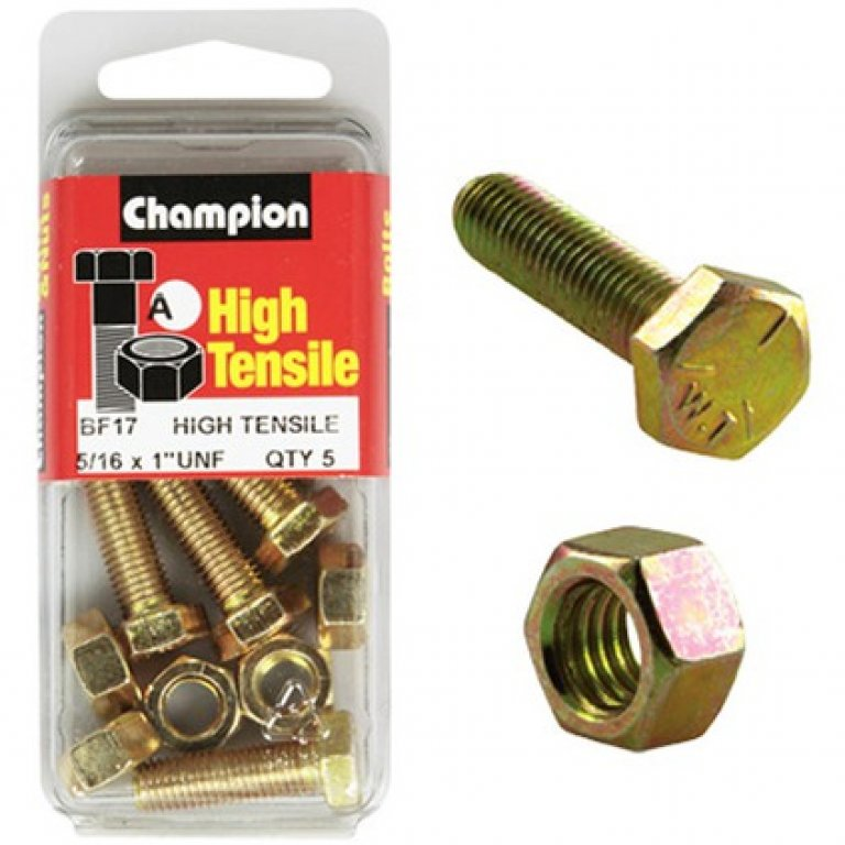 Champion High Tensile Bolts and Nuts - UNF 1inch X 5 / 16INCH