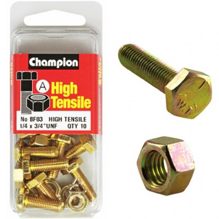 Champion High Tensile Bolts and Nuts - UNF 3 / 4inch X 1 / 4inch