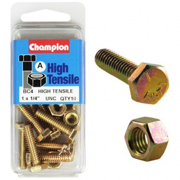 Champion High Tensilebolts and Nuts - UNC 1inch X 1 / 4inch