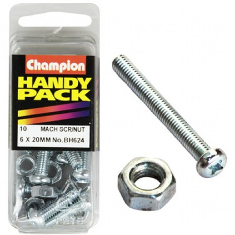 Champion MACH Screws / Nuts - 6MM X 20MM, BH624, Handy PACK