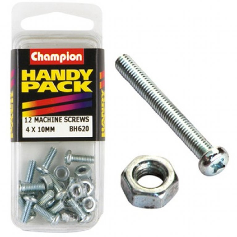 Champion Machined Screws / Nuts - 4MM X 10MM, BH620, Handy PACK