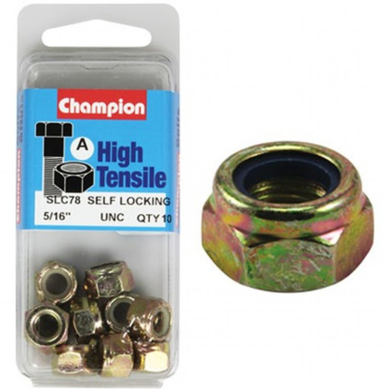 Champion Nyloc Nuts - UNC 5/16, High Tensile
