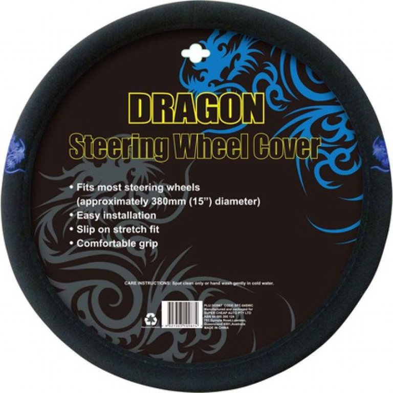 Dragon Steering Wheel Cover - Brushed Polyester, Blue, 380MM Diameter