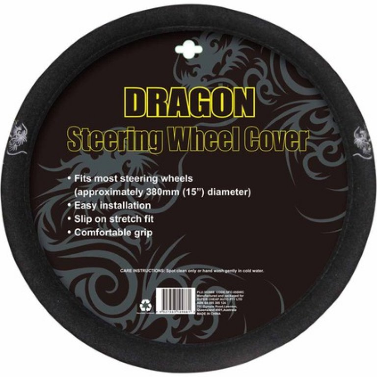 Dragon Steering Wheel Cover - Brushed Polyester, Grey, 380MM Diameter