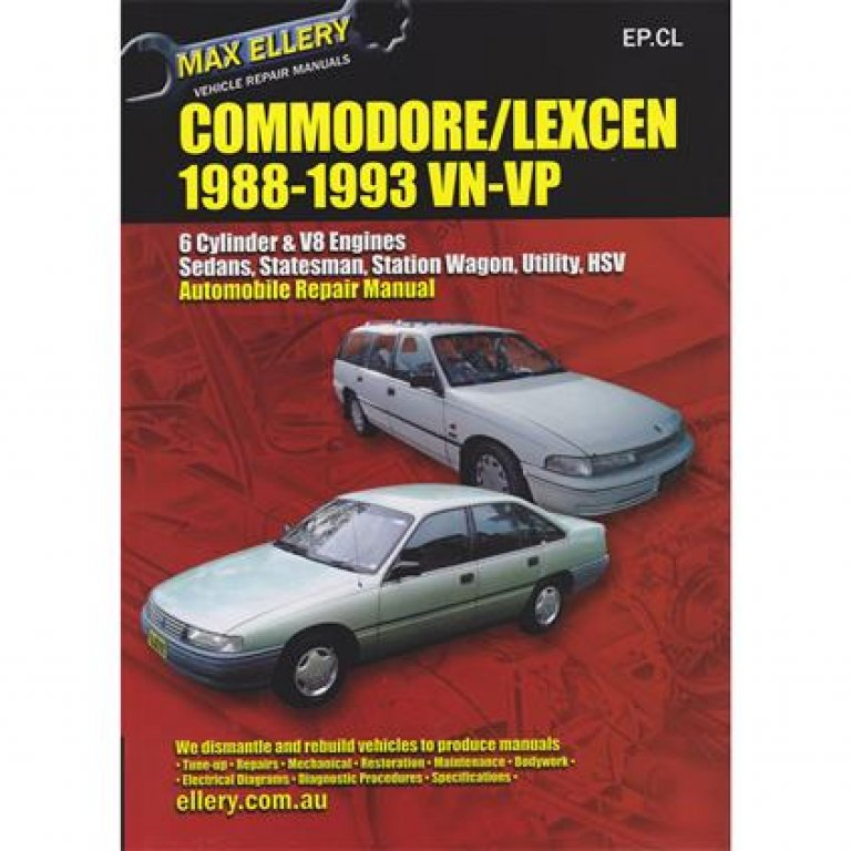 Max Ellery Car Manual For Holden Commodore / Toyota Lexcen 1988-1993 -