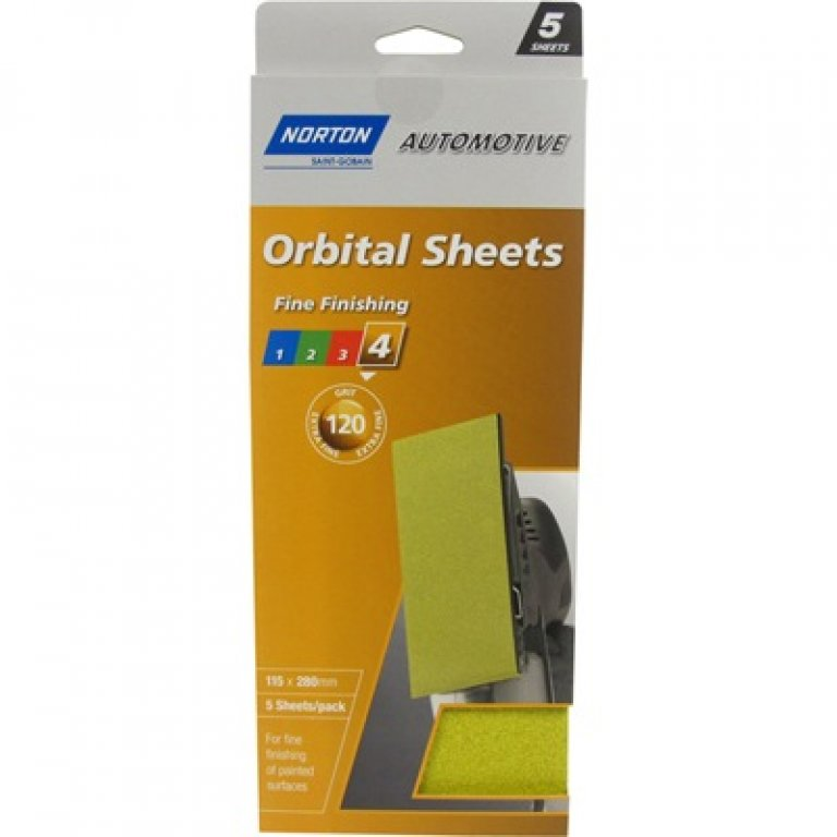 Norton Orbital Sheet - 120 GRIT, 5 PACK