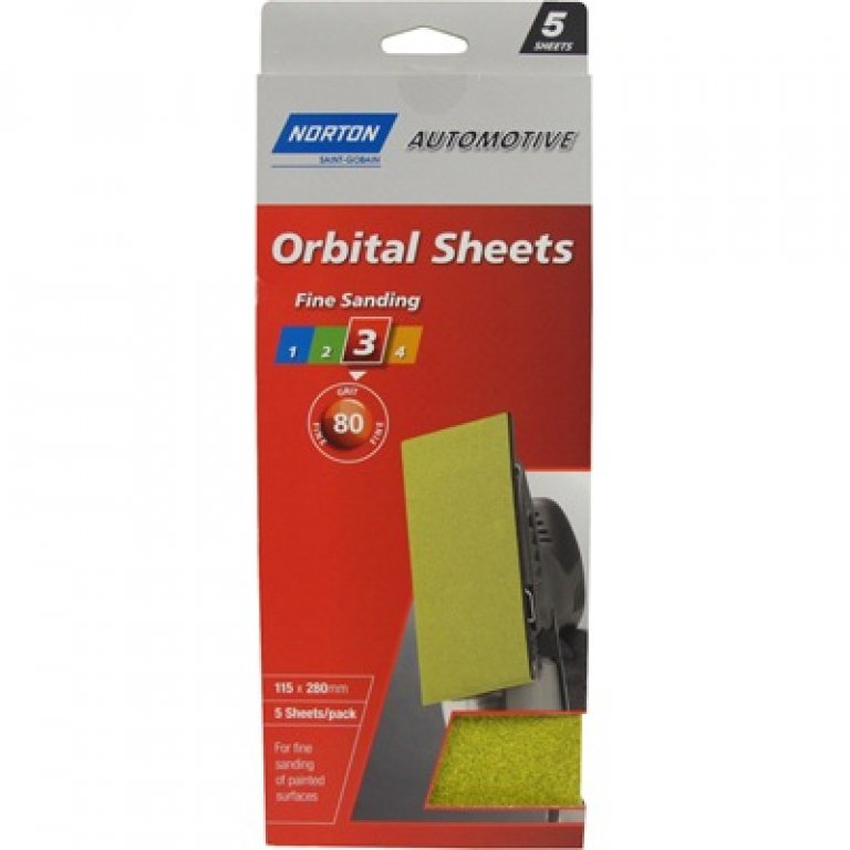 Norton Orbital Sheet - 80 GRIT, 5 PACK