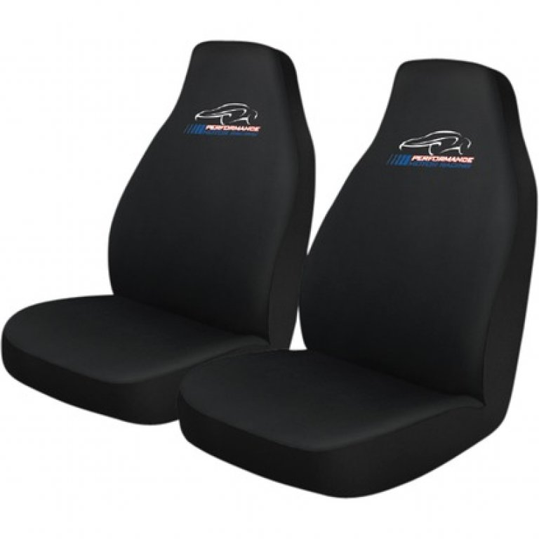 Performance Racing SLIP On SEAT Covers - Black, Built-in Headrests