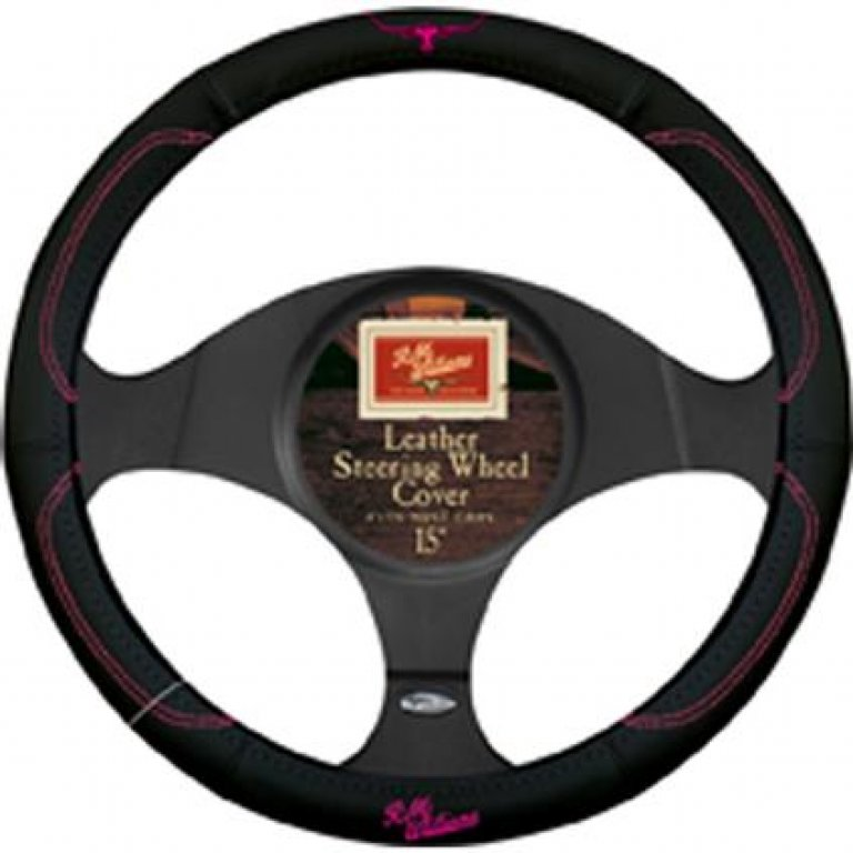 R.m.williams Jillaroo Steering Wheel Cover - Leather, Black and Pink,