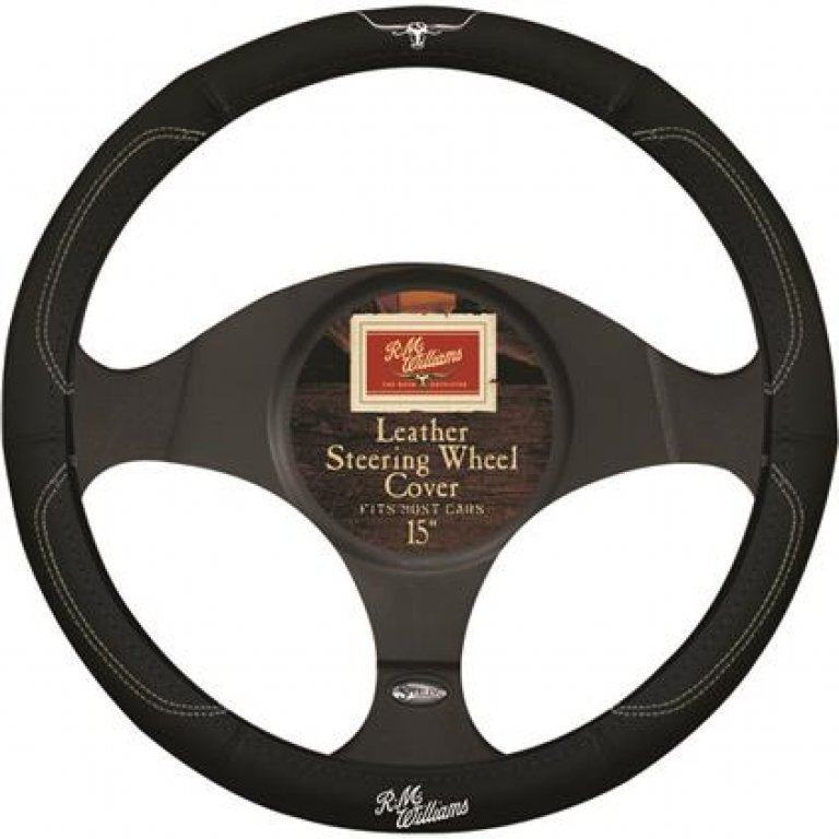 R.m.williams Steering Wheel Cover - Leather, Black, 380MM Diameter