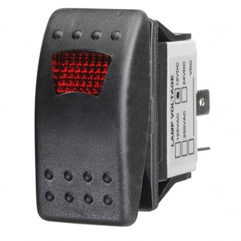 Ridge Ryder Sealed Rocker Switch - On / Off, Red LED
