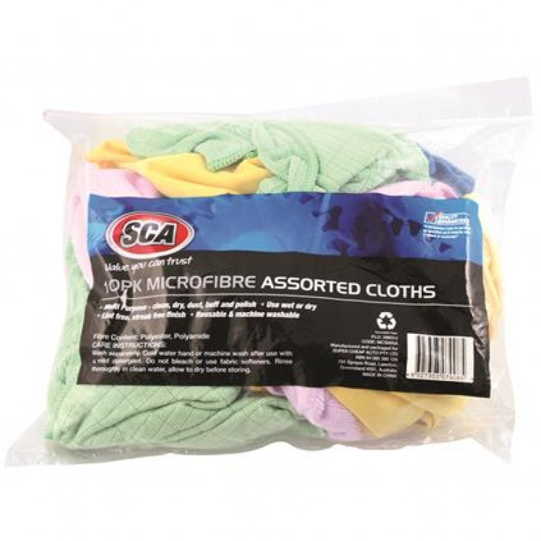 SCA Microfibre Assorted Cloths - 10 PACK