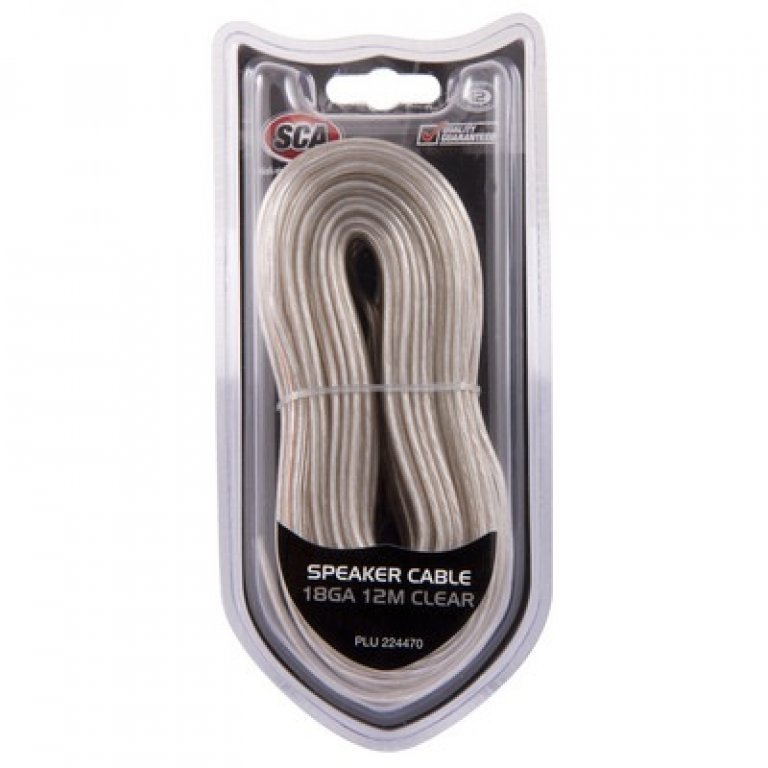 SCA Speaker Cable - Clear, 18G, 12M