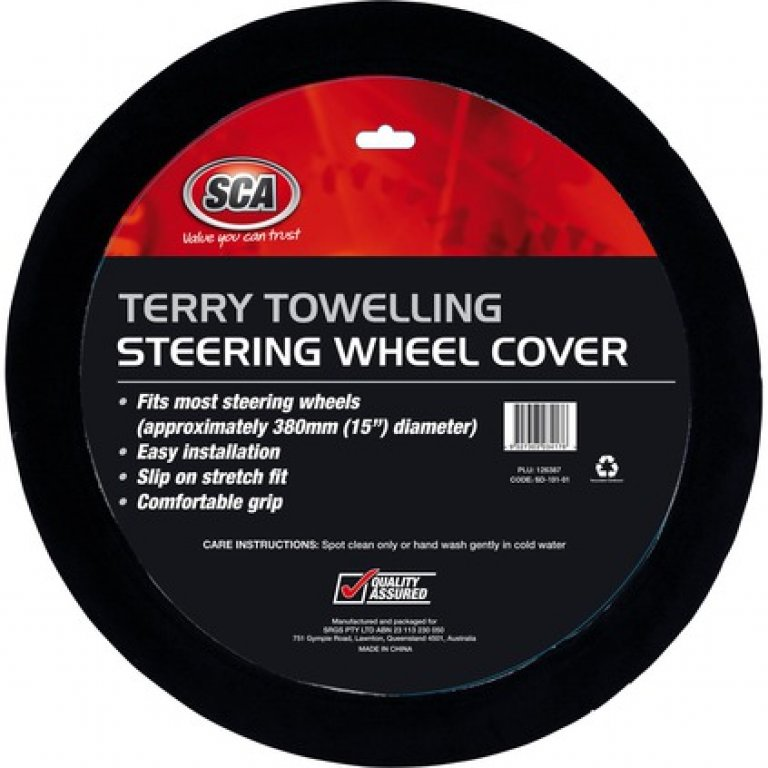 SCA Steering Wheel Cover - Terry Towelling, Black, 380MM Diameter