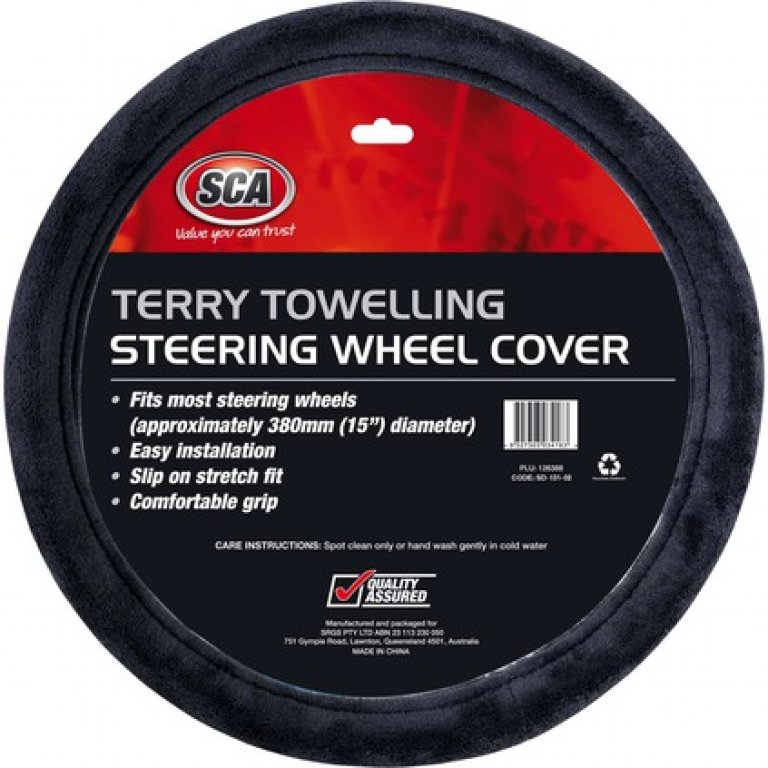 SCA Steering Wheel Cover - Terry Towelling, Grey, 380MM Diameter
